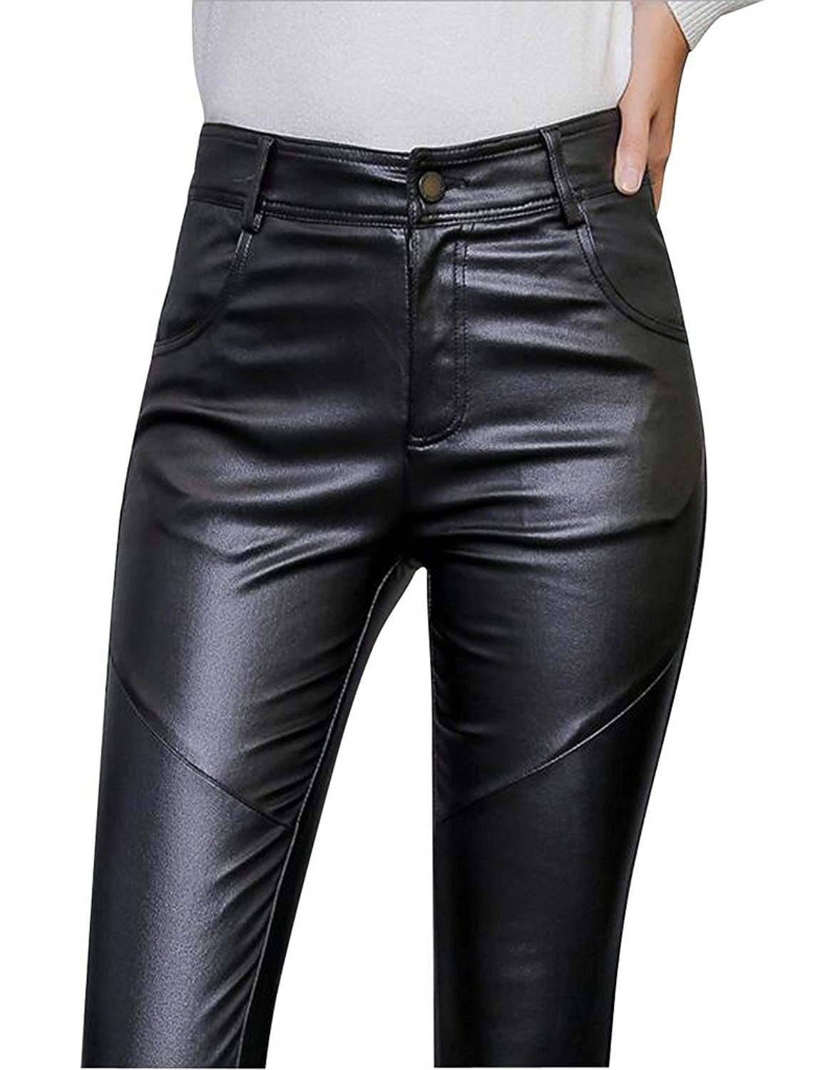 DPO Women's Sexy Mid Waist Faux Leather Button Leggings Skinny Pant at Amazon Women's Clothing store: