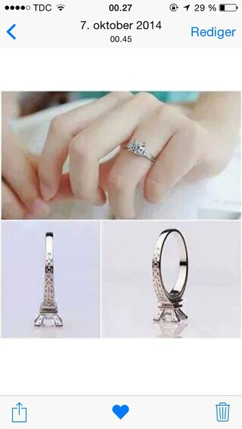 jewels silver jewelry silver ring ring ring eiffel tower