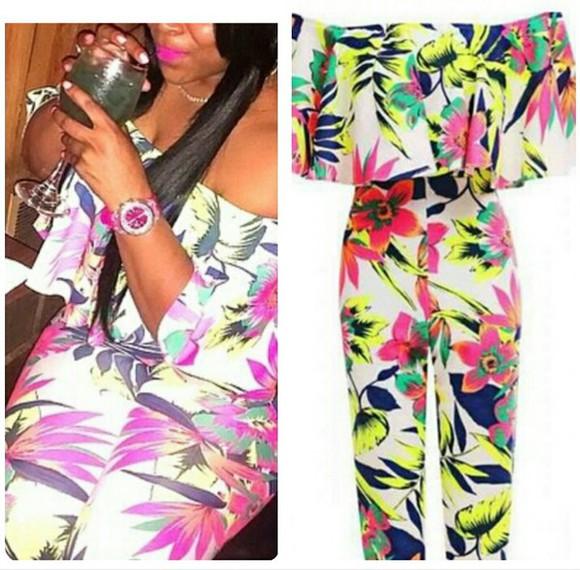 jumper jumpsuit multi colored paradise tropical floral print off shoulder jumpsuits