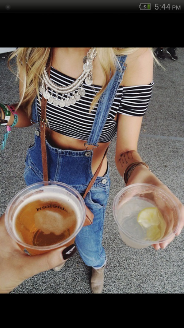jeans overalls crop tops necklace