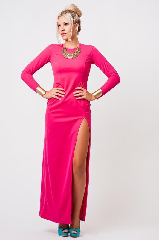Dresses : thigh split maxi dress, pink
