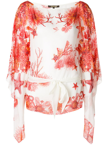 Roberto Cavalli blouse women white silk coral top