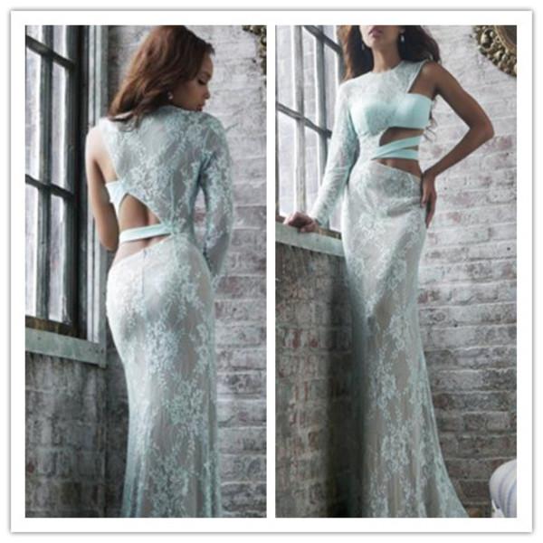 wedding dress lace dress cut-out dress one sleeve dress white dress long prom dress cross design dress evening dress red carpet 2014 dress prom dress dress