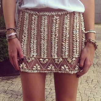 skirt shell cowrie shell design cowrie skirt patricia bonaldi beach embroidered