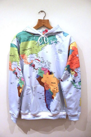 sweater tumblr hoodie world map sweatshirt