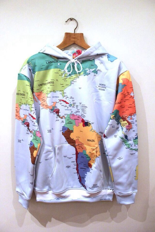 sweater hoodie tumblr map print sweatshirt jumper world earth comfy countries fashion clothes winter outfits white coat jacket