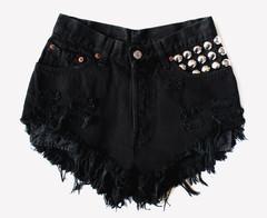 450 Black Frayed Studded Shorts | RUNWAYDREAMZ