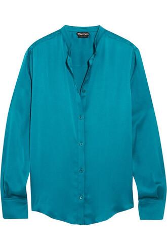 blouse silk satin petrol top