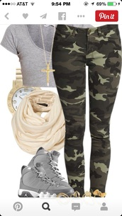 t-shirt,grey and white jordan sneaker,grey t-shirt,camo pants,tan scarf,shoes,cross,grey top,grey crop top,camouflage,watch,scarf,jordans,pinterest