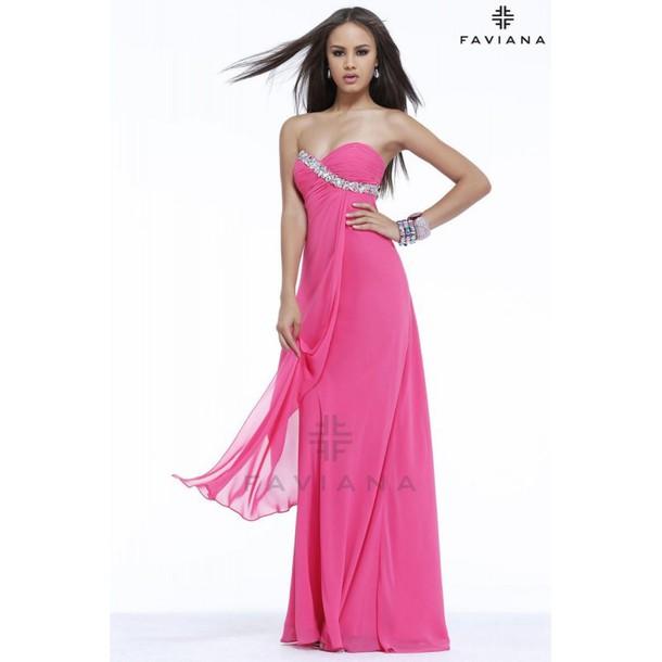 dress, wedding dress, faviana prom dresses, pink - Wheretoget