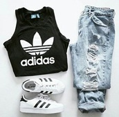 top,adidas,black,jeans,shoes,sneakers,cropped,denim,high top sneakers,adidas shoes,adidas superstars,black top,black and white,white,logo,cropped tank top,tank top,black tank top,black and white shoes,white shoes,ripped jeans,ripped,ripped skinny jeans,boyfriend jeans,crop tops,black crop top,adidas black and white t shirt hoodie,adidas shirt,adidas top,adidas crop top,white crop tops