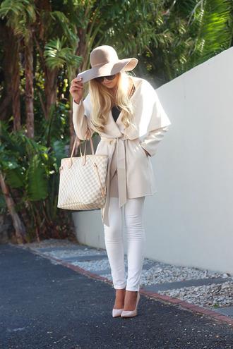 superficial girls blogger coat hat sunglasses jeans shoes