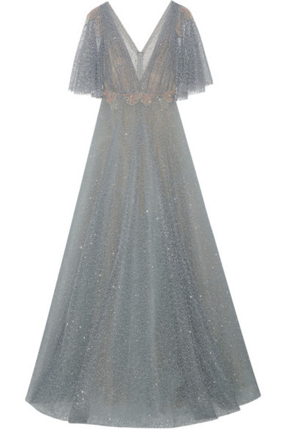 98662dea Marchesa - Embellished Flocked Glittered Tulle Gown - Gray - Wheretoget