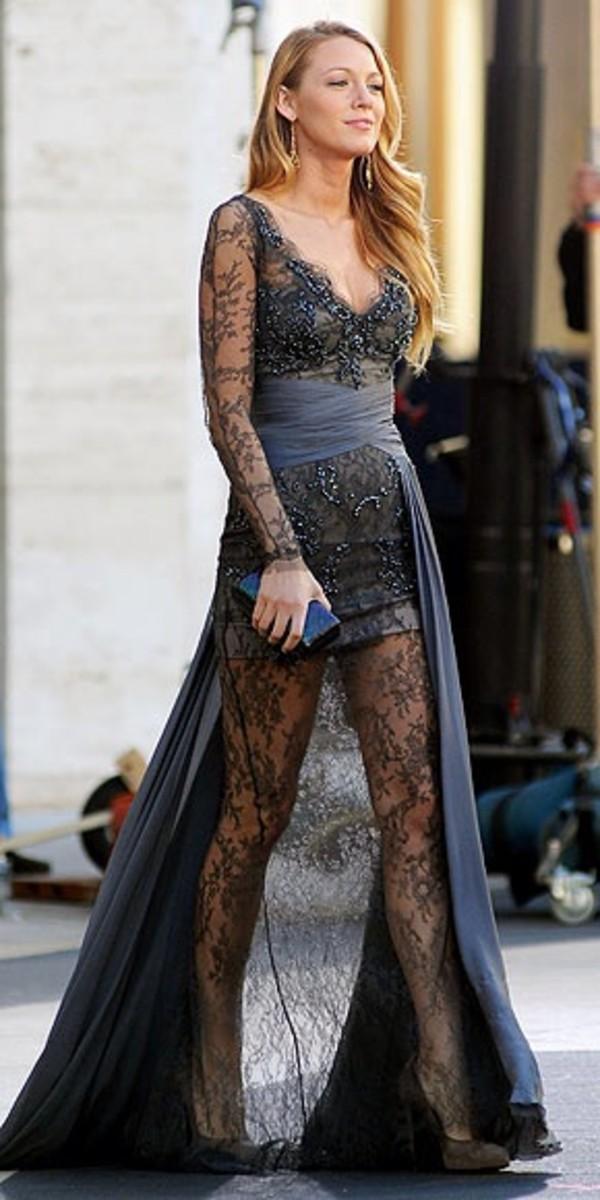 dress serena van der woodsen grey dress glitter dress transparent lace dress lace glitter silver serena van der woodsen