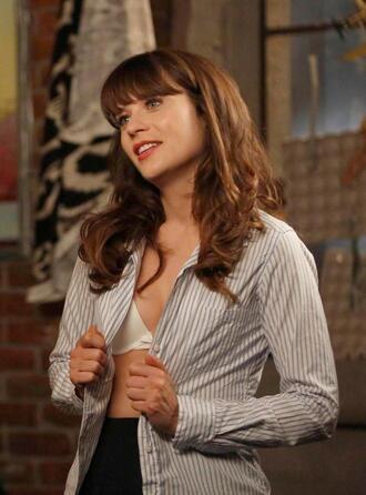 shirt new girl zooey deschanel jess day jessica day striped shirt bra