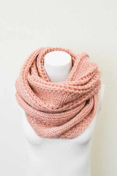 Chunky Cable Knit Infinity Scarf  Peach Oversized by LePetitMonkey