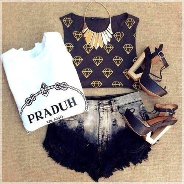 shorts tank top High waisted shorts jewelry t-shirt shirt shoes jewels
