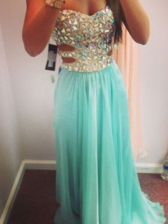 Charming A line Rhinestone Chiffon Floor-Length Prom Dresses [B00225] - $194.99 : 24inshop