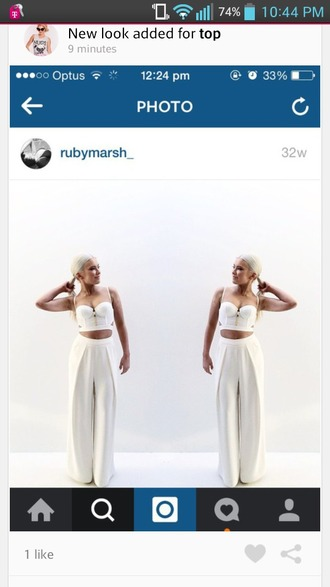 pants high waisted white dress pants crop tops bralette corset top cute top cute pants
