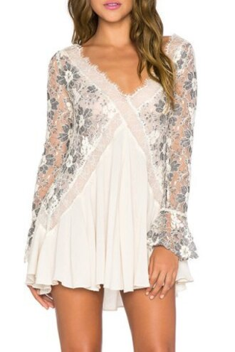 dress fashion white cute style long sleeves chic women's v-neck long sleeve lace pleated dress trendy cool rosegal dec
