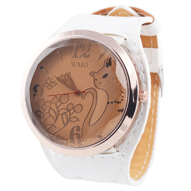 Free Shipping Fashion Big Round Dial Watch With PU Leather Strap (Red) - YW00006R on Luulla