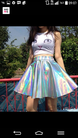 skirt cats silver tumblr chic metallic tumblr girl grunge cute holographic crop tops