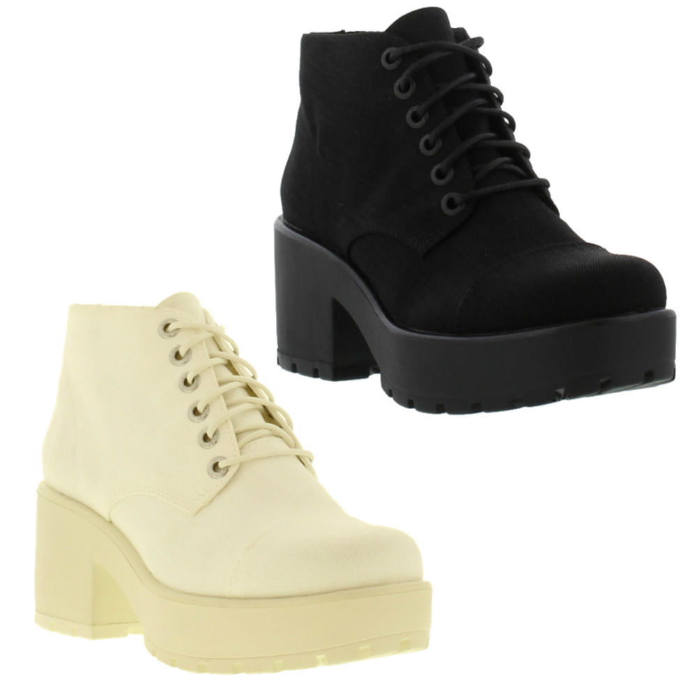 ea781e68656 Vagabond Dioon Canvas Genuine Womens Heeled Boots / Shoes Sizes UK 3 - 8