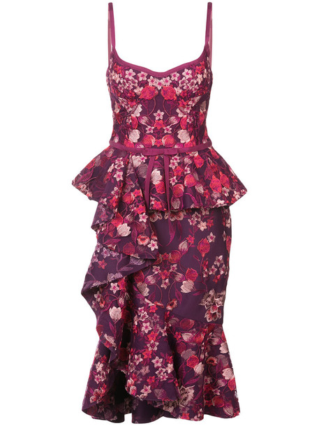 Marchesa Notte dress midi dress ruffle women midi floral purple pink