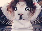 sweater,cats,jumper,sweatshirt,white,cute,pussycat
