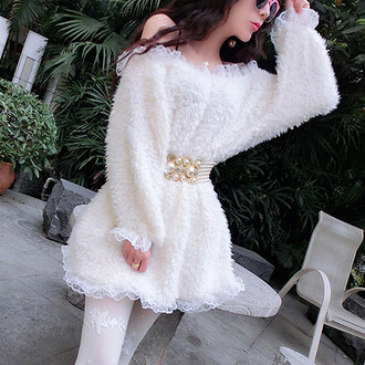 dress white cozy warm fall outfits winter outfits kawaii girly elegant chique lace belt adorable outfit asian fashion off the shoulder feminine pearl style fashion