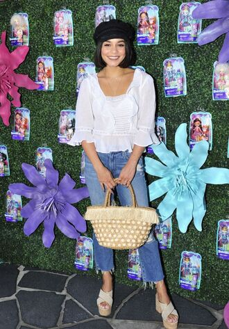 blouse jeans wedges hat white top shirt vanessa hudgens