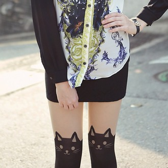 tights cats face black summer cute vintage bohemian boho hipster tumblr girl leggings pants jeans vogue blouse