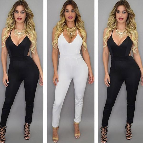 ec164d43629c2 jumpsuit black white bodycon one piece sexy classy chique v neck open back.