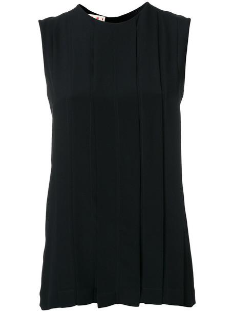 Marni - box pleat vest - women - Silk/Acetate - 42, Black, Silk/Acetate