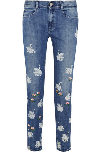 jeans skinny jeans denim embroidered high light
