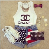 tank top,white,chanel,american flag shorts,american flag,converse,bag,jewels,jewelry,denim,hair bow,shorts,t-shirt,bracelets,spikes