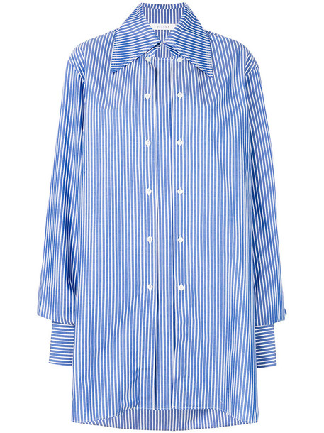 Delada shirt striped shirt oversized women cotton blue top