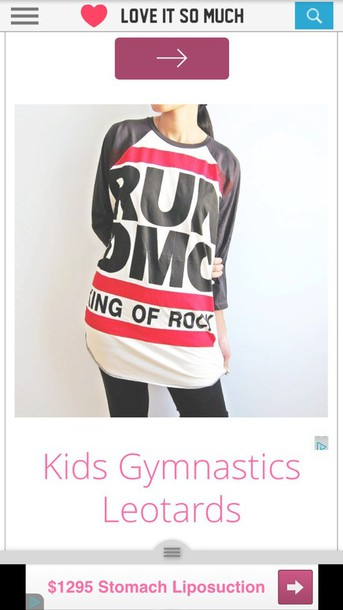 shirt white black red run dmc