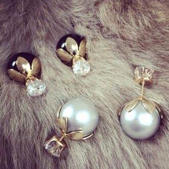 jewels earrings black white pearl