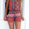 Hippie red geometric cutout playsuit on storenvy