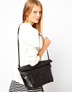Cheap Monday | Cheap Monday Crinkle PU Roll Over Clutch Bag at ASOS