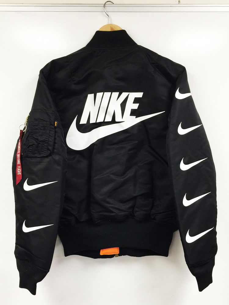 IN DARK MA-1 BOMBER FLIGHT JACKET nike x alpha destroyer black/off ...
