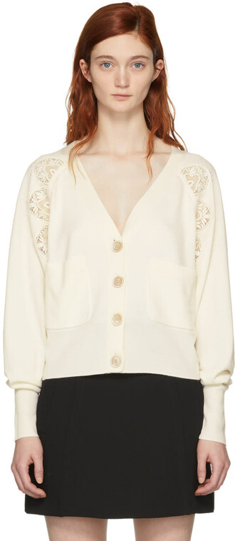 cardigan lace white white lace off-white sweater