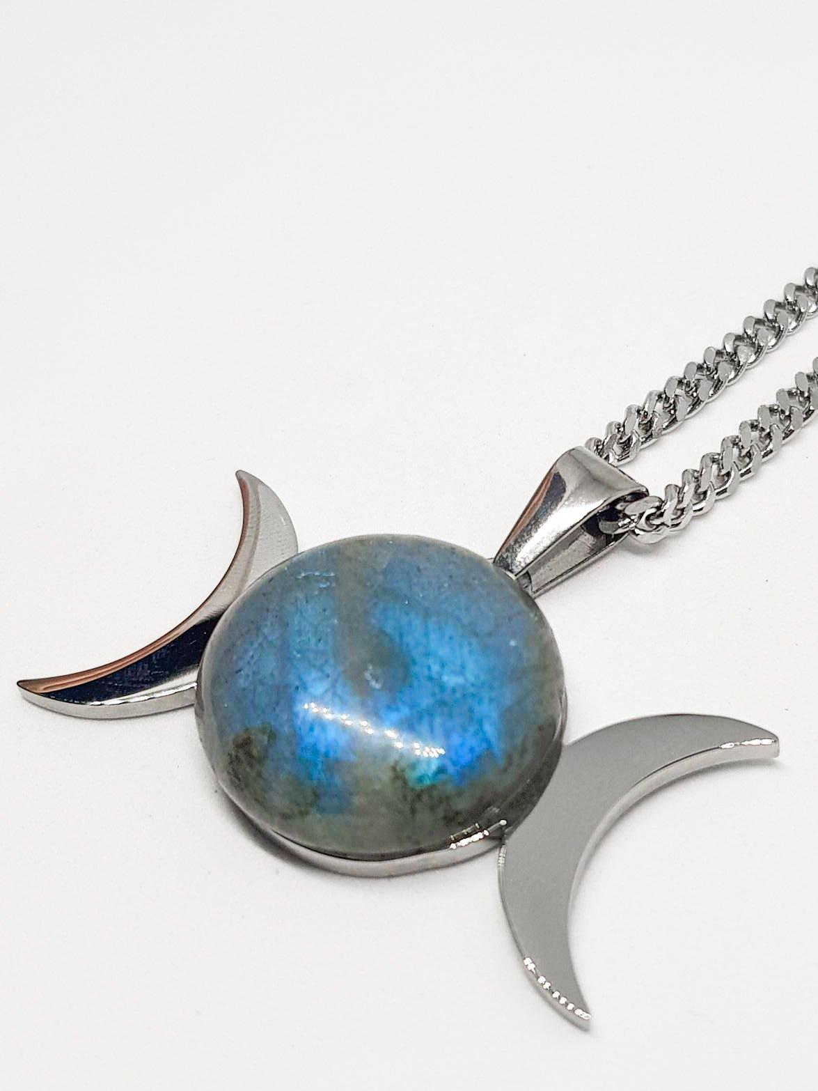 Labradorite Triple Moon Goddess - Stainless Steel Silver and Labradorite / Spectrolite Stone