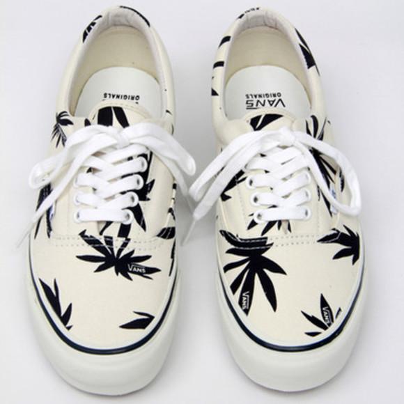 shoes vans weed original cream green white 420 black and white, marijuana, leaf, vans, black, white, in white vans of the wall
