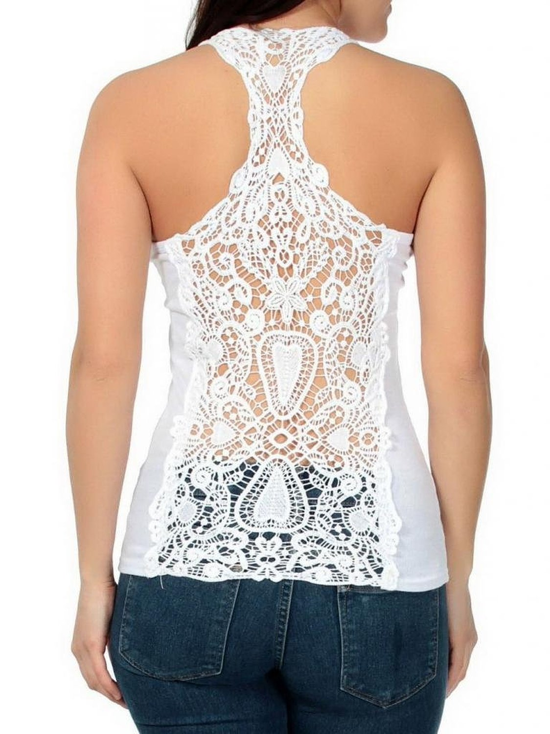 Bigood Women Lace Knit Racerback Tank Top w/ See Through Crochet Back Hollow-out White at Amazon Women's Clothing store: