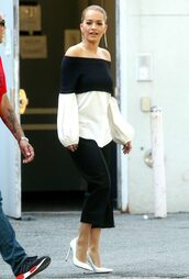 blouse,off the shoulder,black and white,rita ora,pants,pumps