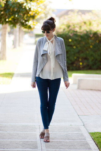 jeans and a teacup blogger jacket blouse jeans shoes sunglasses mules skinny jeans white blouse spring outfits