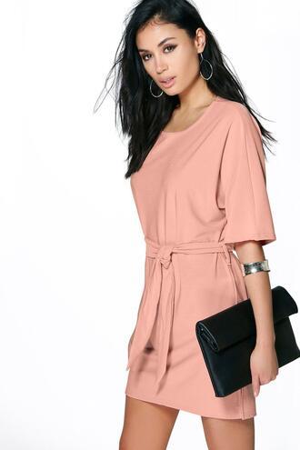 dress waist dress belted dress peach dress boohoo dress waist shift dress
