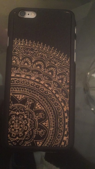 phone cover black henna flowers